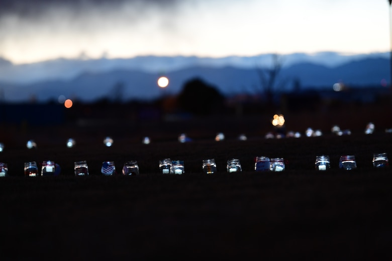Over 6,000 luminaries flicker for three nights at the Colorado Freedom Memorial in Aurora, Colorado, Dec. 1, 2018.