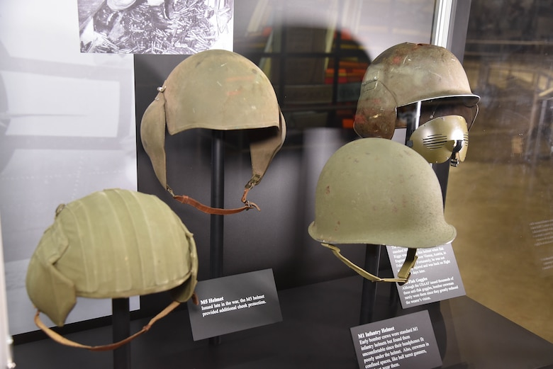 WWII bomber crew helmets on display in the WWII Gallery at the National Museum of the USAF. (U.S.Air Force photo)