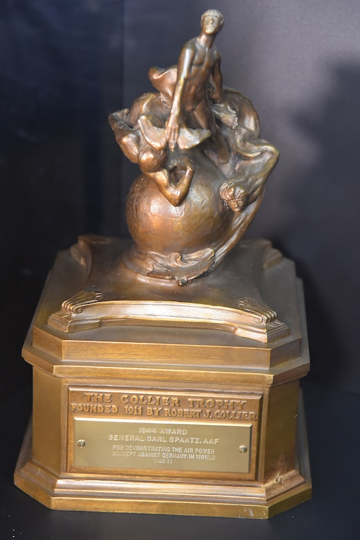 "The 1944 Collier Trophy awarded to Carl A. Spaatz for ""demonstrating the air power concept through employment of American aviation in the war against Germany."" The Collier Trophy is awarded annually for significant achievement in the advancement of aviation.(U.S. Air Force photo)"