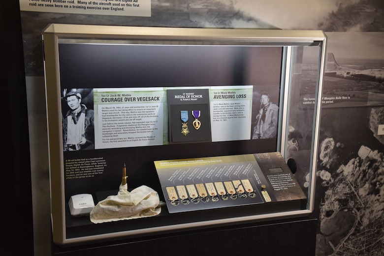 Arming wire tag, bomb fuse pins, 50-cal bullet, and more on display as part of the Early Operations: Eighth Air Force in England exhibit case in the WWII Gallery at the National Museum of the USAF.(U.S. Air Force photo)