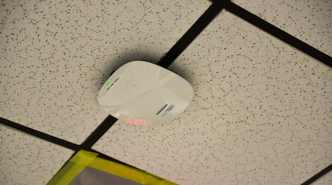 A newly installed Wi-Fi access point at Tyndall Air Force Base, Fla., Dec. 14, 2018. The state-of-the-art Wi-Fi equipment has been installed and is fully operational in 12 buildings, with 3 more slated to be completed soon after the hurricane recovery mold remediation is finished. Upon completion, 191 brand new Wi-Fi access points will be available throughout the 15 buildings. (U.S. Air Force photo by Senior Airman Cody R. Miller)