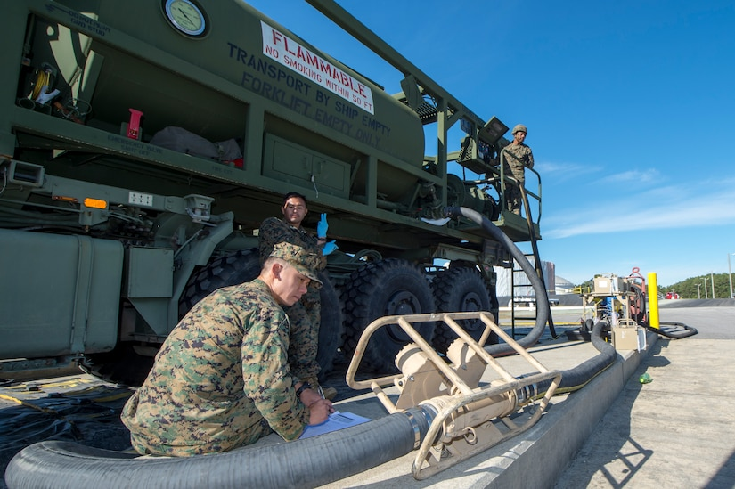 Marine Maj. Kelvin Chew, Marine Corps Expeditionary Office technology and experimentation officer, monitors the amount of fuel pumped through the expeditionary Mobile Fuel Additization Capability at the Charleston Defense Fuel Supply Point Dec. 6, 2018.