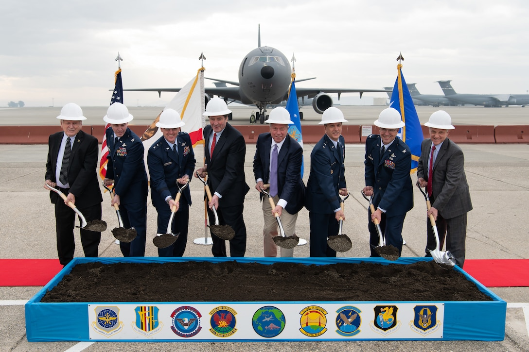 Maj. Gen. Randall Ogden, 4th Air Force commander (third from right) and Col. Raymond Kozak, 349th Air Mobility Wing commander (second from right) participated in the ceremony.