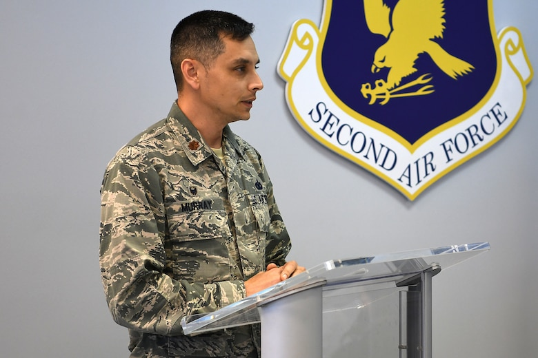 U.S. Air Force Maj. Jonathon Murray, 81st Security Forces Squadron commander, delivers remarks during a retirement ceremony for Bleck, 81st SFS military working dog, inside the Larcher Chapel at Keesler Air Force Base, Mississippi, Dec. 13, 2018. Bleck served eight years and has worked alongside 11 handlers during his career. (U.S. Air Force photo by Airman 1st Class Suzie Plotnikov)