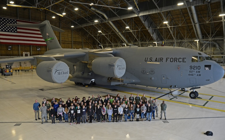 Students from Elk Plain School of Choice visits McChord Field during a Science, Technology, Engineering and Mathematics (STEM) event Dec. 14, 2018 at Joint Base Lewis-McChord, Wash.