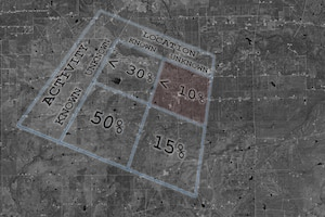 An alignment matrix overlaid on a satellite image.
