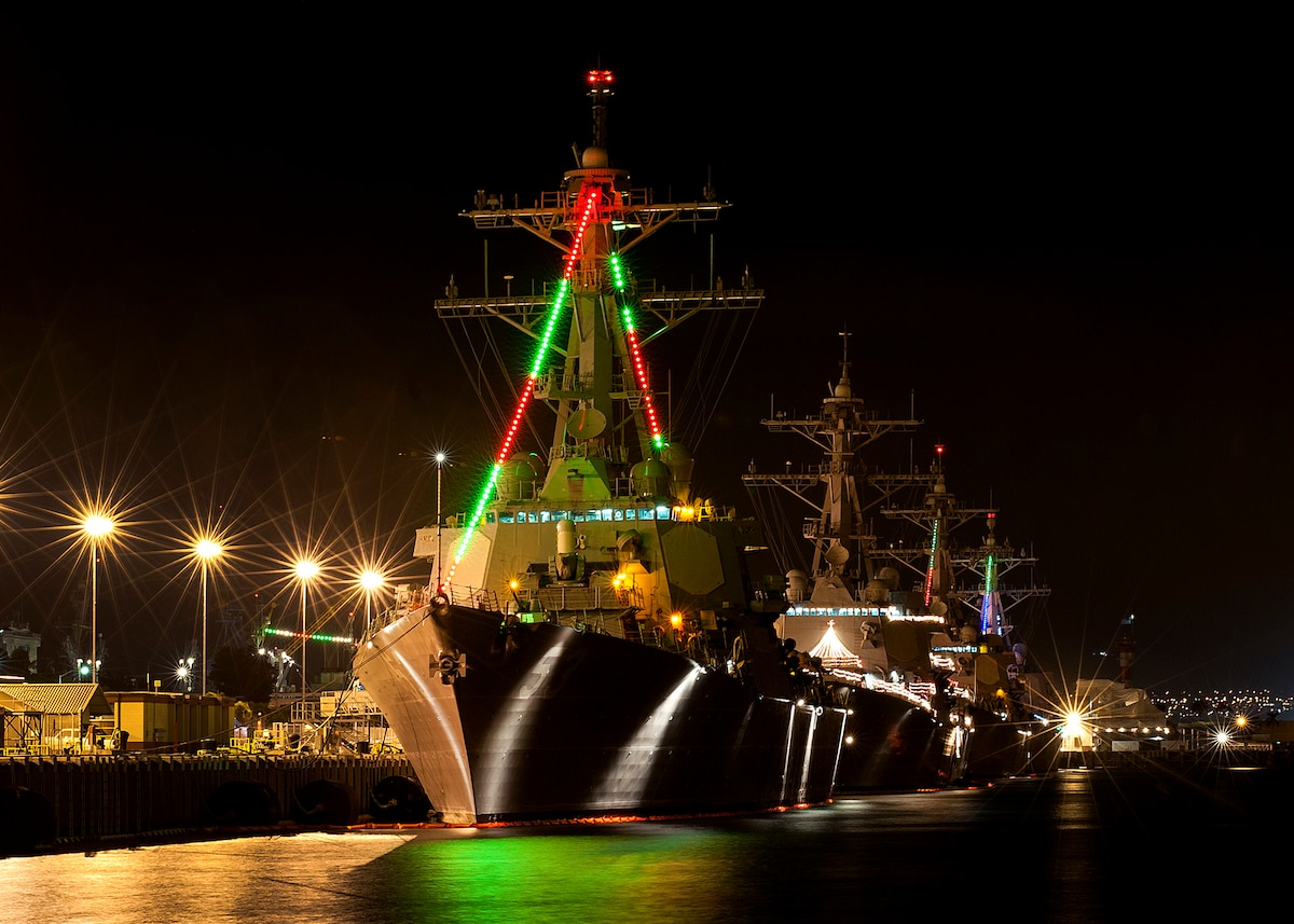 Ships decorated with Christmas lights