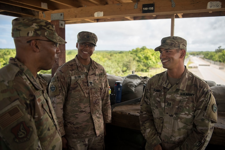 Gen. CQ Brown, Jr., Pacific Air Forces commander, meets with soldiers assigned to U.S. Army Air and Missile Defense Command, Task Force Talon, during a visit to Andersen Air Force Base, Guam, Dec. 10, 2018. During the visit, Brown emphasized the importance of Andersen's role in ensuring regional security and stability. (U.S. Air Force photo by Senior Airman Zachary Bumpus)