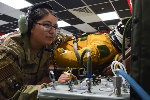 Senior Airman Yomira Ramirez-Martinez, 99th Expeditionary Reconnaissance Squadron aerospace physiology technician, inflates the U-2 pilot's full-pressure suit at Al Dhafra Air Base, United Arab Emirates, Dec. 12, 2018.