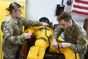 99th Expeditionary Reconnaissance Squadron aerospace physiology technicians Staff Sgt. Ariel Schlenther, and Staff Sgt. Johnathan Cearley inspect the U-2 pilot's full-pressure suit at Al Dhafra Air Base, United Arab Emirates, Nov. 21, 2018.