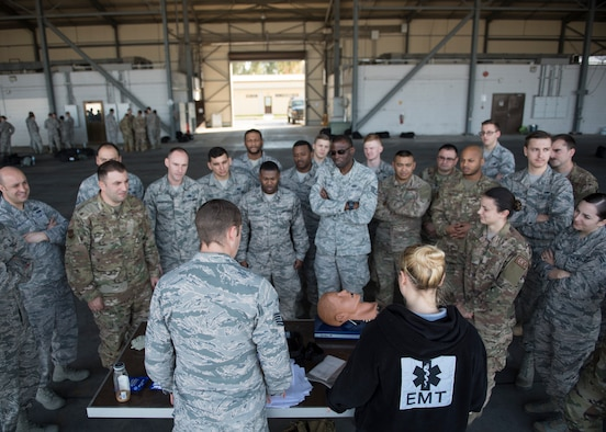 U.S. Air Force Airmen assigned to the 39th Air Base Wing receive Self Aid Buddy Care training during an Ability to Survive and Operate Rodeo at Incirlik Air Base, Turkey, Dec. 3, 2018.