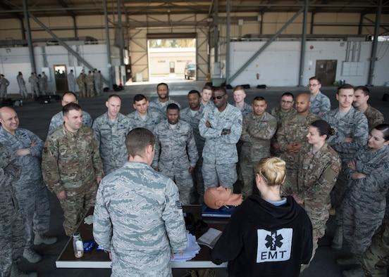 Airmen receive first aid training.