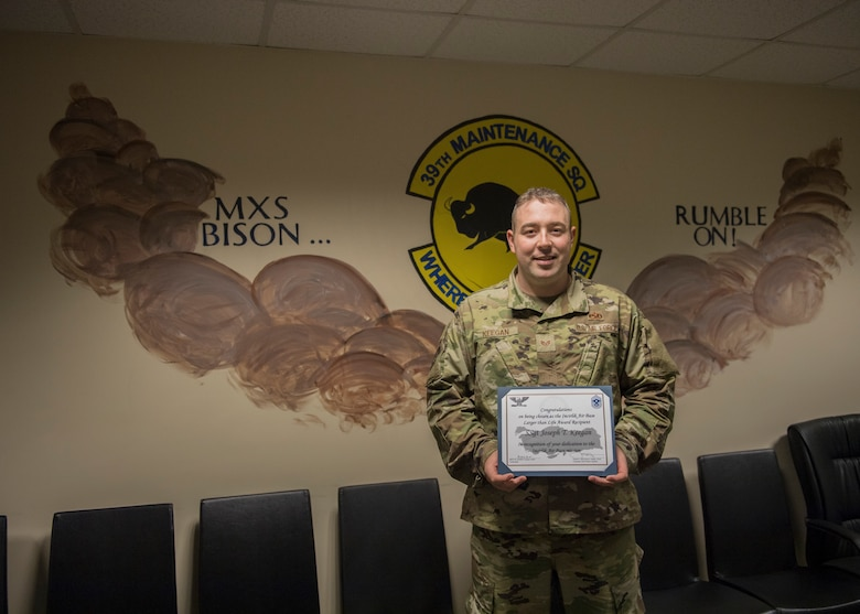 Congratulations to U.S. Air Force Staff Sgt. Joseph Keegan, 39th Maintenance Squadron personnel reliability program monitor, for winning the Larger Than Life Award at Incirlik Air Base, Turkey, Dec. 10, 2018.