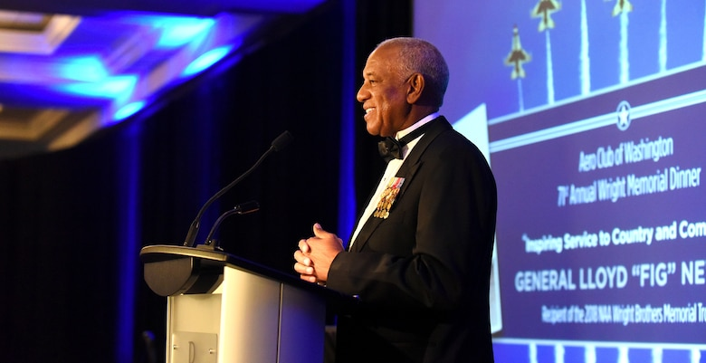 "Retired Gen. Lloyd Newton, the 2018 Wright Brothers Memorial Trophy winner, delivers remarks during the 71st National Aeronautics Association Wright Brothers Memorial Dinner in Washington, D.C., Dec. 14, 2018. According to an NAA press release, the trophy was created in 1948 and is presented annually to a ""living American who has contributed significant public service of enduring value to aviation in the United States."" (U.S. Air Force photo by Staff Sgt. Rusty Frank)"