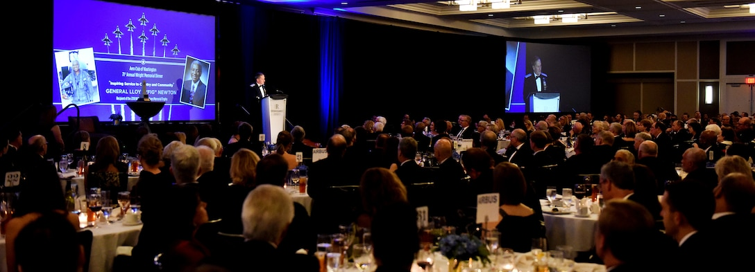 Air Force Chief of Staff Gen. David L. Goldfein delivers remarks during the 71st National Aeronautics Association Wright Brothers Memorial Dinner in Washington, D.C., Dec. 14, 2018. Goldfein introduced retired Gen. Lloyd Newton, the 2018 Wright Brothers Memorial Trophy winner. (U.S. Air Force photo by Staff Sgt. Rusty Frank)