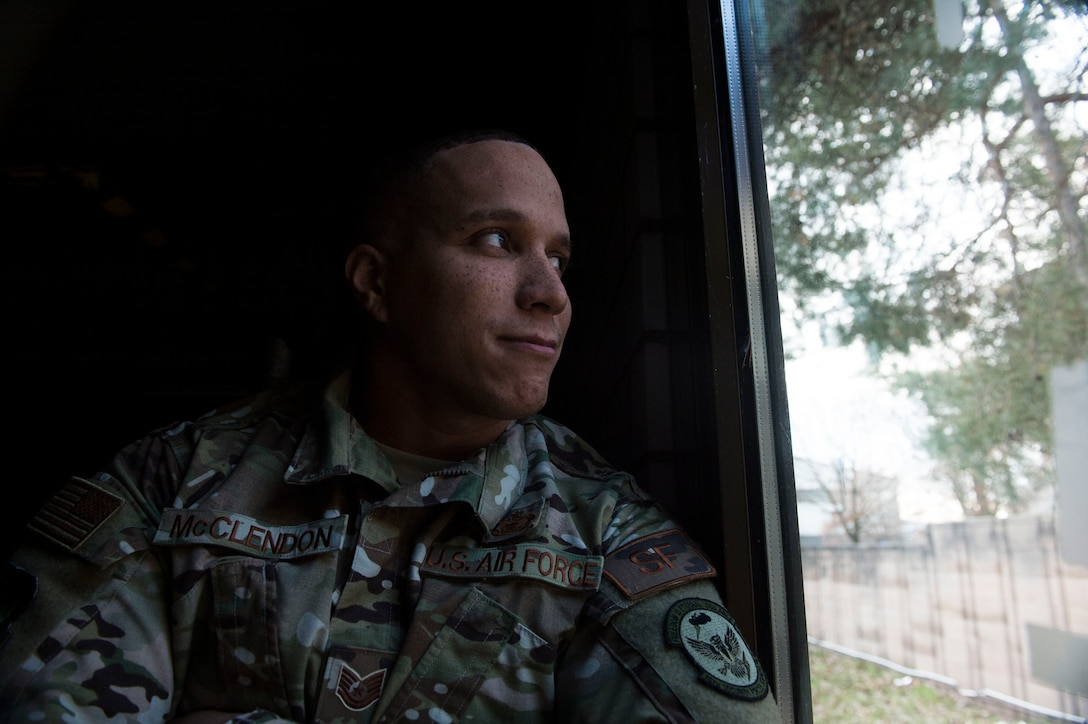 U.S. Air Force Tech. Sgt. Reuben McClendon, 86th Security Forces Assistant non-commissioned officer in charge of training, stares out the window on Ramstein Air Base, Germany, Dec. 13, 2018. McClendon helps build resiliency in his fellow Airmen the telling his story of how he overcame adversity. (U.S. Air Force photo by Senior Airman Joshua Magbanua)