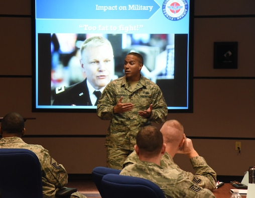 U.S. Air Force Tech. Sgt. Reuben McClendon, 86th Security Forces Assistant non-commissioned officer in charge of training, teaches a resiliency class on (place, date). McClendon regularly gives talks about how to overcome adversity and maintain resiliency. (Courtesy photo)