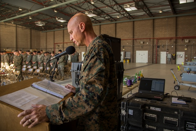 The Marine Corps Air Station (MCAS) Yuma Chaplain, CDR Jeffery Jenkins gives the invocation during the appointment and relief ceremony for Marine Unmanned Aerial Vehicle Squadron one (VMU-1), Nov. 30, 2018 at the VMU-1 hangar. Sgt. Maj. Cisneros served with VMU-1 honorably for just under three years, ensuring that the Marines assigned to the squadron performed their duties exceptionally while continuously building unit morale. (U.S. Marine Corps Photo by Cpl. Sabrina Candiaflores)