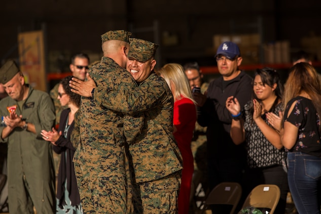 Sgt. Maj. Jesse Becker, Sergeant Major of Marine Unmanned Aerial Vehicle Squadron one (VMU-1), is appointed the new squadron sergeant major after relieving Sgt. Maj. Arturo Cisneros, Nov. 30, 2018 at the VMU-1 hangar. Sgt. Maj. Cisneros served with VMU-1 honorably for just under three years, ensuring that the Marines assigned to the squadron performed their duties exceptionally while continuously building unit morale. (U.S. Marine Corps photo by Cpl. Sabrina Candiaflores)