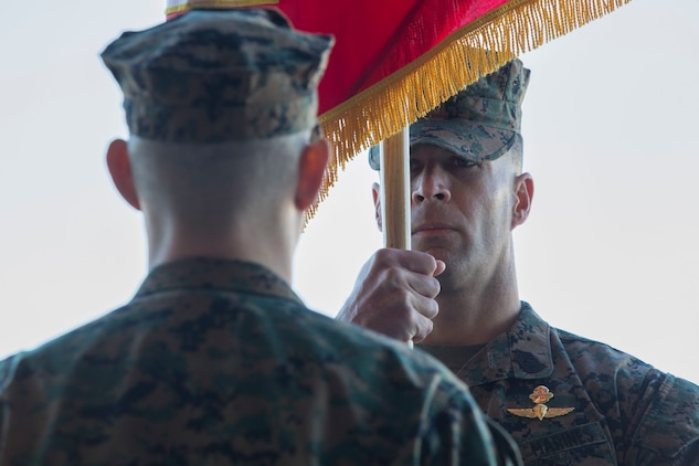 U.S. Marine Corps Sgt. Maj. William R. Bilenski, sergeant major, Marine Attack Squadron 311 (VMA-311), Marine Corps Air Station (MCAS) Yuma, participates in the Change of Command Ceremony where Lt. Col. Michael W. McKenney, commanding officer for VMA-311 relinquished command to Lt. Col. Robb T. McDonald on MCAS Yuma, Ariz., Dec. 13, 2018. The Change of Command Ceremony represents the transfer of responsibility, authority, and accountability from the outgoing commanding officer to the incoming commanding officer. (U.S. Marine Corps photo by Sgt. Allison Lotz)