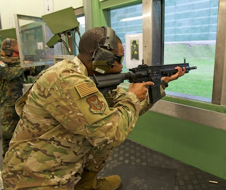 Tech. Sgt. Gregory Myers, a U.S. Air Force Reserve Citizen Airman assigned to the 452nd Security Forces Squadron, competes in the rifle portion of the 2018 Royal Netherlands Marine Corps Shooting Competition Dec. 15 in Den Helder, the Netherlands. The Air Force Reserve Command Shooting Team placed second in pistol marksmanship. Alongside 10 countries, the team represented the United States in the tournament.  (U.S. Air Force photo by Nicholas Janeway)