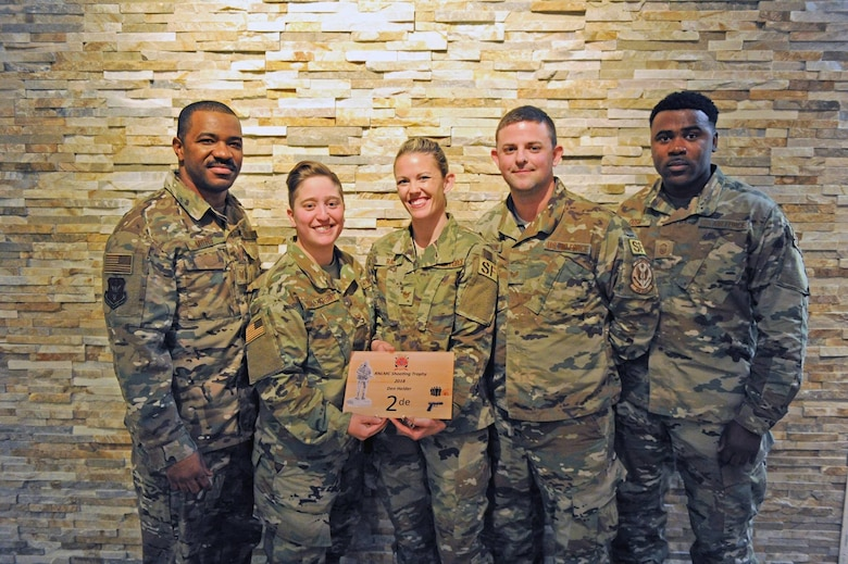 U.S. Air Force Reserve Citizen Airmen take home second place in pistol marksmanship at the 2018 Royal Netherlands Marine Corps Shooting Competition Dec. 15 in Den Helder, the Netherlands. Representing the only U.S. team, Airmen participated alongside 29 teams from 10 countries. (U.S. Air Force photo by Nicholas Janeway)