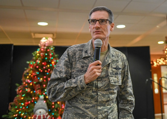 Col. Dan Sarachene, commander of the 910th Airlift Wing, addresses the installation's civilian workforce at a holiday Commander's Call here, Dec. 13, 2012.