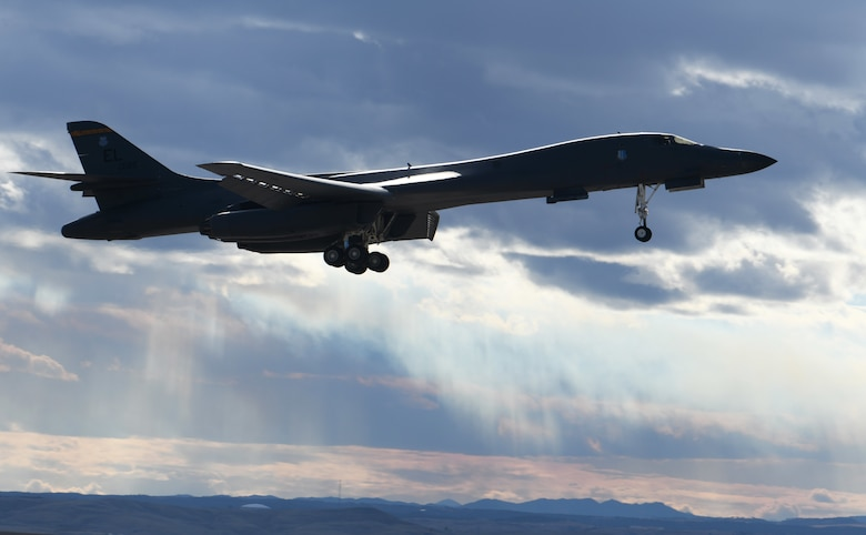 A B-1B Lancer lands at Ellsworth Air Force Base, S.D., Oct. 30, 2018. The B-1 is the backbone of the U.S. Air Force bomber force and carries the largest conventional payload of weapons in the the service's inventory. B-1s assigned to Ellsworth AFB provide support to allies across the globe.(U.S. Air Force photo by Airman 1st Class Thomas Karol)
