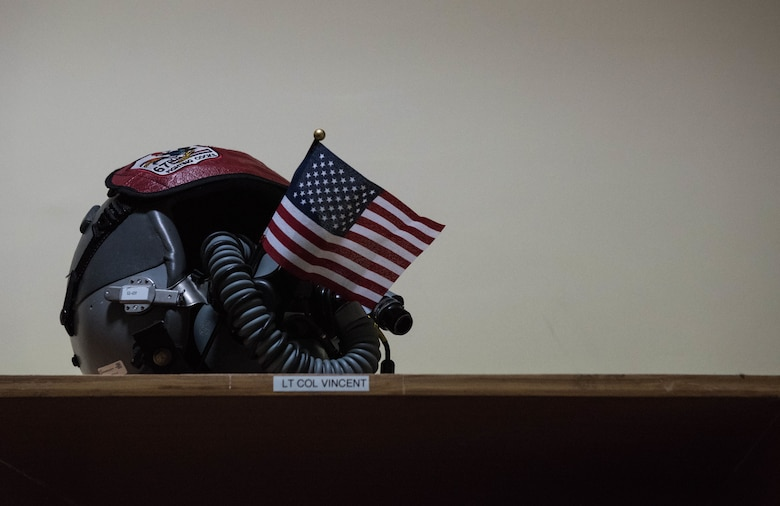 A U.S. Air Force pilot's helmet sits on a shelf at Cope India 19 at Kalaikunda Air Force Station, India, Dec. 14, 2018.