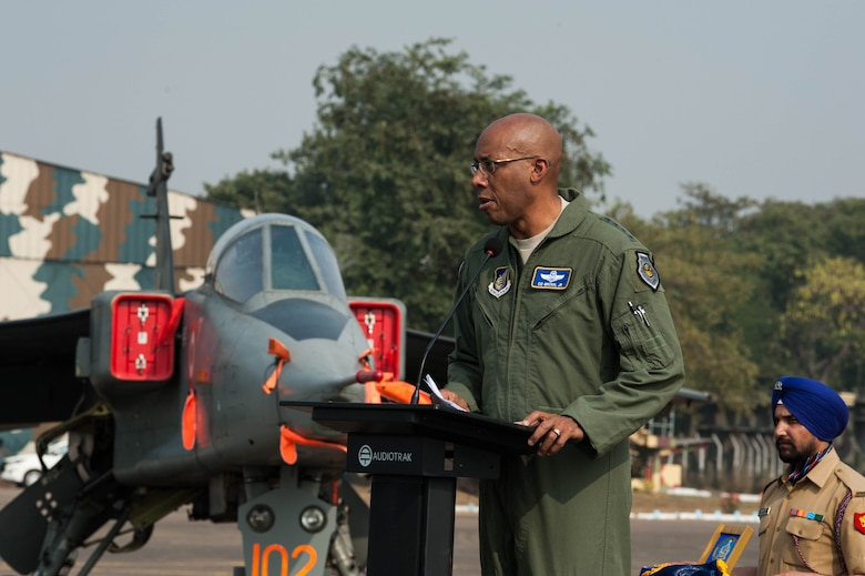 U.S. Air Force Gen. CQ Brown, Jr., Pacific Air Forces commander, gives remarks at the closing ceremony of Cope India 19 at Kalaikunda Air Force Station, India, Dec. 14, 2018.