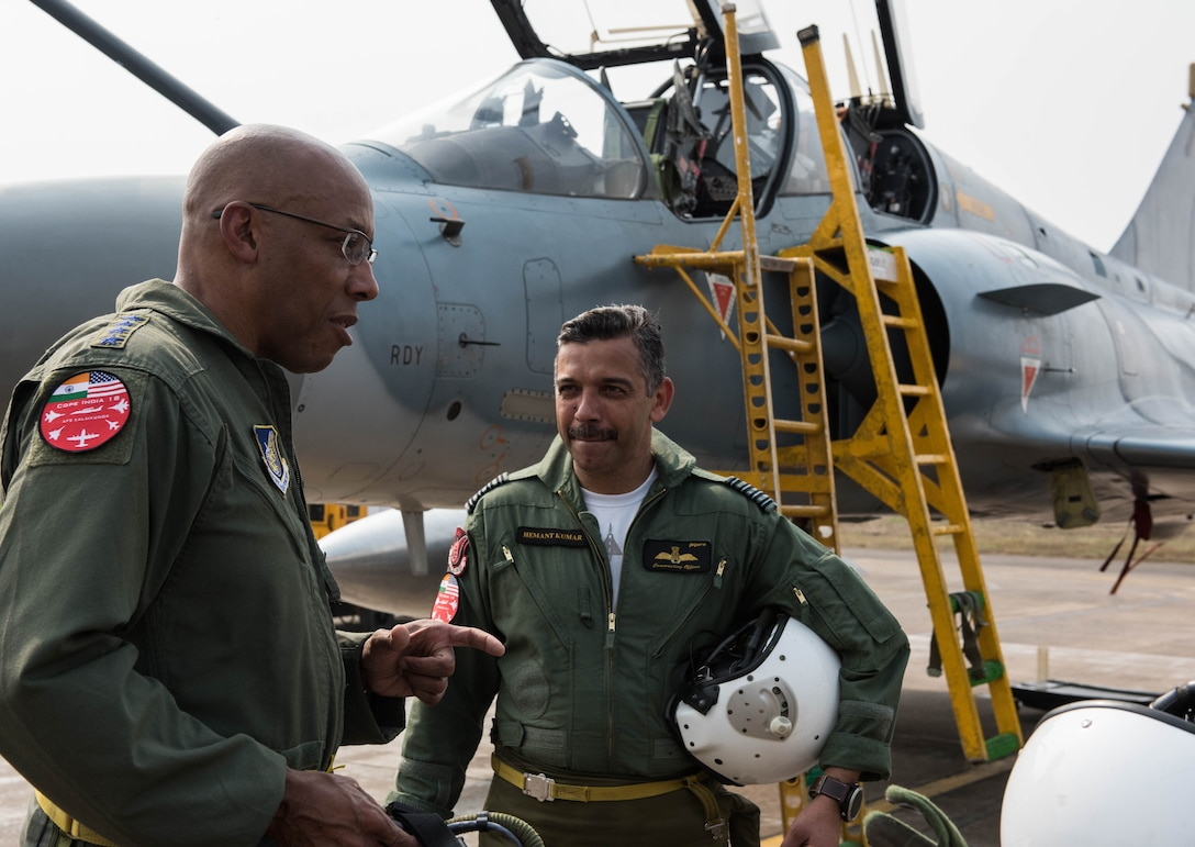 U.S. Air Force Gen. CQ Brown, Jr., Pacific Air Forces commander, discusses his orientation flight in an Indian Air Force Mirage 2000 at Cope India 19 at Kalaikunda Air Force Station, India, Dec. 14, 2018.