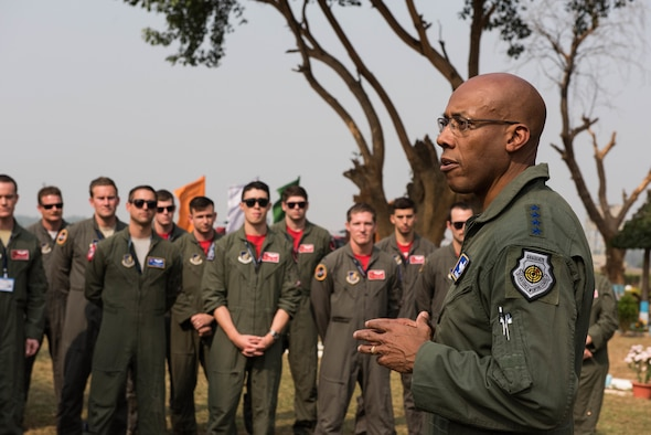 U.S. Air Force Gen. CQ Brown, Jr., Pacific Air Forces commander, speaks with Airmen from Kadena Air Base, Japan, and the Illinois Air National Guard at Cope India 19 at Kalaikunda Air Force Station, India, Dec. 14, 2018
