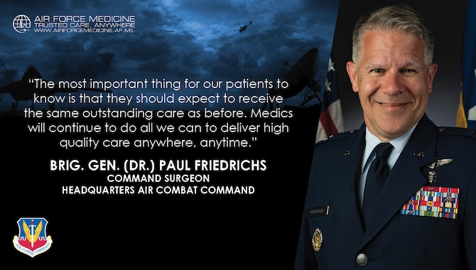 Brig. Gen. Paul Friedrichs is the Command Surgeon, Headquarters Air Combat Command at Joint Base Langley-Eustis, Virginia, shares personal and professional perspectives on Air Force life and military medicine. (U.S. Air Force illustration)