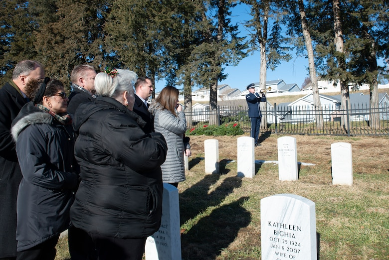 Staff Sgt. Daniel Thrower, Heartland of America Band plays Taps during the National Wreaths Across America Ceremony Dec. 15, 2018, at the Offutt Air Force Base Cemetery, Nebraska. The cemetery was instated into the WAA, Nov. 27, 2018. The WAA is a non-profit organization that provides Christmas wreaths for over 1,200 veterans' cemeteries in the United States and overseas. (U.S. Air Force photo L. Cunningham)