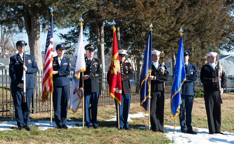 U.S. Strategic Command honor guard posts the colors during the National Wreaths Across America Ceremony Dec. 15, 2018, at the Offutt Air Force Base Cemetery, Nebraska. The cemetery was instated into the WAA, Nov. 27, 2018. The WAA is a non-profit organization that provides Christmas wreaths for over 1,200 veterans' cemeteries in the United States and overseas. (U.S. Air Force photo L. Cunningham)
