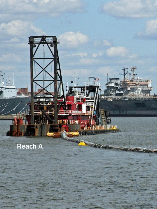 The Dredge Illinois, owned and operated by Great Lakes Dredge & Dock Company, conducts dredging in the Reach A portion of the Delaware River in 2012 as part of the main channel deepening project.
