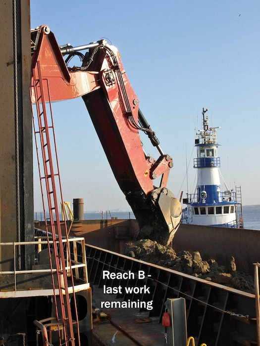 The hydraulic dredge New York, owned by Great Lakes Dredge & Dock Company, conducts rock removal operations in December of 2018 along the Delaware River as part of the deepening project.