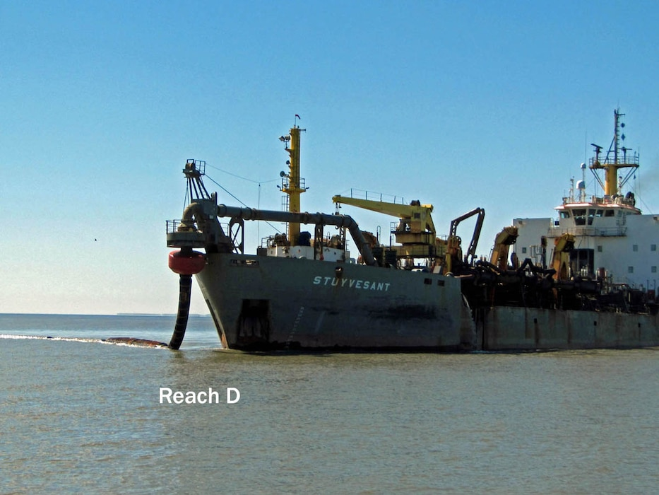The Hopper Dredge Stuyvesant, owned and operated by the Dutra Group, conducts dredging in Reach D of the Delaware River as part of the Delaware River Main Channel Deepening project in 2013. The project is a joint effort between the U.S. Army Corps of Engineers and PhilaPort.