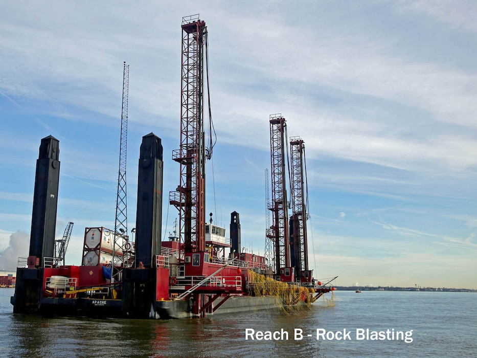 The drillboat Apache, owned and operated by Great Lakes Dredge & Dock Company, conducts rock blasting operations off Chester, Pa., in January of 2016. Work is part of the Delaware River Main Channel Deepening project, a joint effort of the U.S. Army Corps of Engineers and PhilaPort.