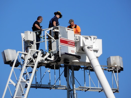 Chicopee Fire Department lent a hand in the on-base rescue of two maintenance workers.