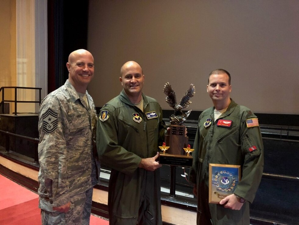 U.S. Air Force Col. Eric Carney, 97th Air Mobility Wing commander, Chief Master Sgt. Randy Kay, 97th AMW Command Chief and Maj. Eric Stoddard, 58th Airlift Squadron Commander of Standards and Evaluation, receive the Top Operations Group-Gray Tail Division Award Group during the Air Education and Training Command Flying Training Awards Ceremony Oct. 26, 2018, at Joint Base San Antonio-Randolph, Texas. The annual event recognizes the exceptional personnel dedicated to training aircrew across the 19th Air Force. (Courtesy Photo)