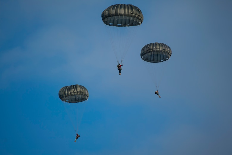 Santa and his helpers, along with members of the U.S. Air Force, U.S. Army, and seven partner nations conducted static-line and military freefall jumps for Operation Toy Drop 2018, over Alzey Drop Zone, Germany Dec. 11-13, 2018.