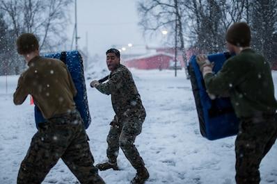 U.S. Marines with Marine Rotational Force-Europe (MRF-E) 19.1 participates in an Oleoresin Capsicum (OC) spray course in Setermoen, Norway, Nov 24, 2018