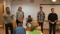 U.S. Marines and a U.S. Navy Sailor with Marine Rotational Force-Europe (MRF-E) 19.1 participate in class discussions while visiting the Sami school Tromssa Sameskuvla in Bardufoss, Norway, Nov. 26, 2018