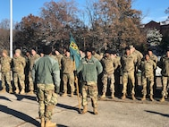 Soldiers attending the Maneuver Support Center of Excellence Noncommissioned Officer Academy's Basic Leader Course stand in formation. The Army's redesigned course will be fully implemented in January. (Photo Credit: Staff Sgt. Joaguin Suero)