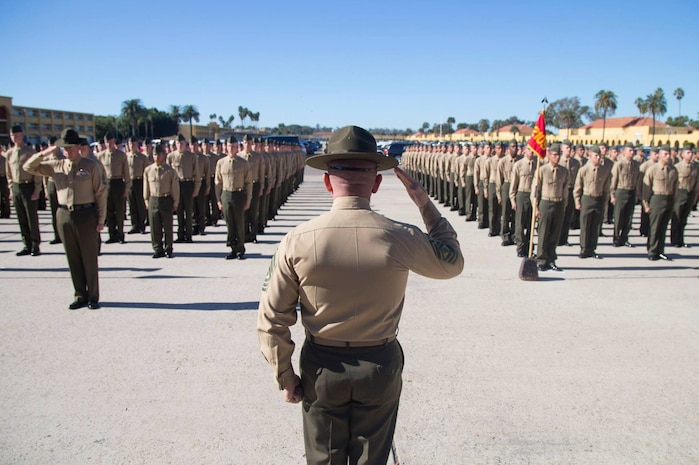 The new Marines of Echo Company, 2nd Recruit Training Battalion, reunite with their loved ones during Family Day at Marine Corps Recruit Depot San Diego, Dec 13.