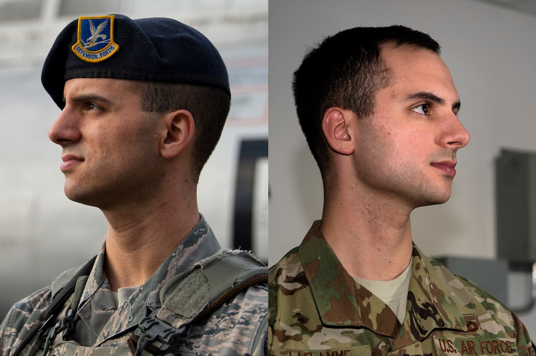 U.S. Air Force Staff Sgts. Jacob LaFlamme, 701st Munitions Support Squadron Custody Forces flight sergeant, left, and Zachary LaFlamme, 702nd MUNSS Custody Forces flight sergeant, right, are identical twins assigned to 52nd Fighter Wing geographically separated units. The brothers did not see each other for four years until they got stationed two-and-a-half hours apart. (U.S. Air Force photo illustration by Airman 1st Class Valerie Seelye)