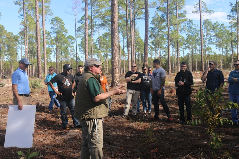 Staff members of the 4th Battlefield Coordination Detachment and 609th Air Operations Center learn about the significance of the Battle of Camden during the Revolutionary War in Camden, South Carolina, November 7, 2018. Attendees visited Camden Battlefield and Camden Historical district as part of a staff ride designed to further professional leader development.