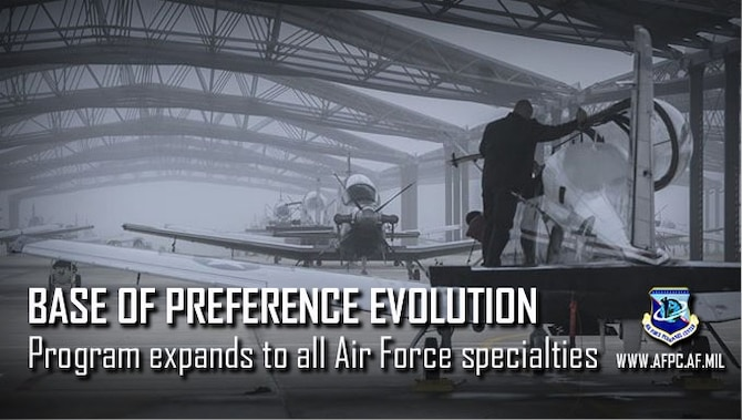 The Air Force Base of Preference program has evolved to include stateside assignment visibility for all Air Force Specialty Codes. Starting January 2019, the Air Force's Personnel Center will post the available stateside locations where Air Force requirements exist — by skill-level and AFSC — on the Assignment Management System for eligible Career Airmen with 48 months' time on station.
