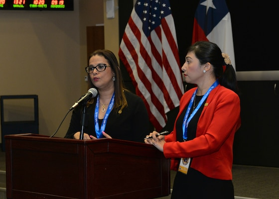 essica Solana, left, and Mayra Valle, representing the Dominican Republic present on the Dominican Republic's disaster relief and humanitarian assistance planning during the 2nd Humanitarian Assistance and Disaster Relief workshop